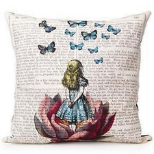 """Beauty Butterfly Lotus Girl  Print Pillow Case Cushion Cover  Home Decor 18""""X18"""""""