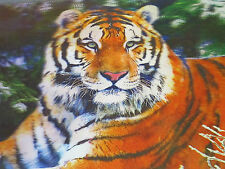 3D Picture of a Tiger which changes to a Kneeling Female Model