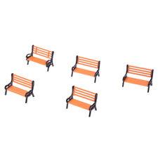 5pcs Plastic Model Park Bench Model Landscape 1:50 w/ Black Arm B1Q5