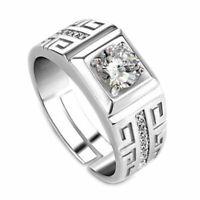 1XElegant Diamond Men's Ring Crystal Open Rings Wedding Jewelry For Men Boy R3L4