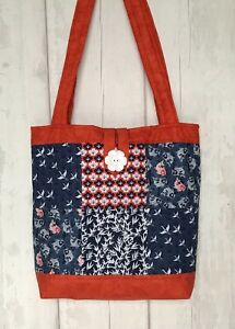 Quilted Patchwork Tote Bag Kit Kyoto Orange Japanese inspired fabrics
