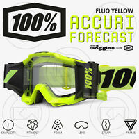 MASCHERA 100% ACCURI FORECAST ROLL-OFF OCCHIALI MOTOCROSS MX FLUO YELLOW / BLACK