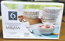 "New listing Mikasa Celebration 6pc Stoneware Bowl Set 6"" 26oz. Ice cream 5257756"