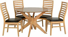 Boston Dining Set in Natural Oak Veneer with 4  Brown Faux Leather Chairs
