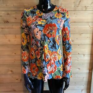 Women's Vintage Liberty Floral Viscose Top Size 14 Sheer