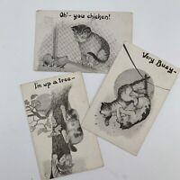 Antique Postcard Lot Cartoon Funny Cat Cats Chicken Phillips 1911 Postmark