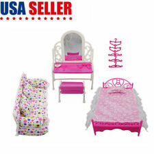 8 pcs/lot Princess Furniture Accessories child Kids Gift For Barbie Doll US