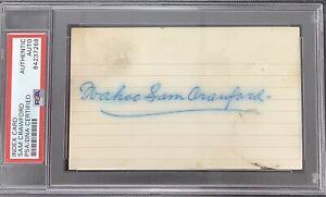 Wahoo Sam Crawford Signed Index Card Baseball Autograph DET Tigers HOF PSA/DNA