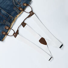 Fashional Men's Suspenders Braces Adjustable Leather Button Holes White BD706