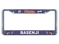 Basenji Dog Mom Chrome Metal License Plate Frame Tag Border