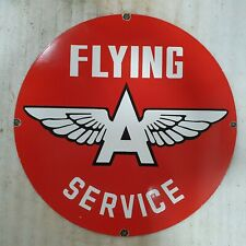 FLYING A SERVICE 30 INCHES ROUND VINTAGE ENAMEL SIGN