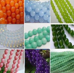 "4- 14mm Smooth Natural Round Jade Jewelry Making Loose Gemstone Beads 15"""