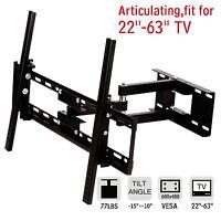 """22""""-63"""" LCD LED Articulating TV Wall Mount Bracket Swivel Tilt Flat Plasma Black"""