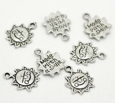 "50PCs Silver Tone Sun Flower ""Made with a Smile"" Charm Pendants 16mmx12mm"
