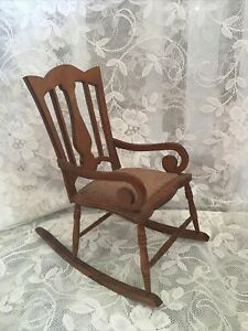 "Vintage Doll's Wood Rocking Chair approx 10"" tall"
