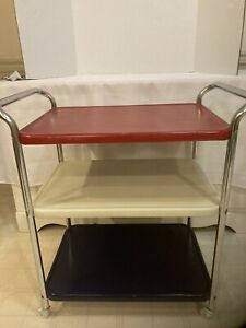 Vintage 3- Tier Cosco Metal Red White Blue Chrome Kitchen Rolling Cart MCM