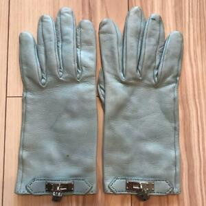 Hermes Gloves Light blue Women Size 7 With charm