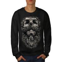 Wellcoda Beard On Skull Mens Sweatshirt, Dead Hippy Casual Pullover Jumper