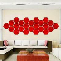 12PCs 3D Mirror Hexagon Vinyl Removable Wall Sticker Art Decor DIY Home F1P8
