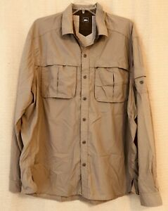 REI Long Sleeved Button Front Hiking SHIRT, Men's Size XL, Poly Nylon Beige Camp