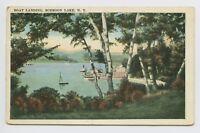 Schroon Lake, NY - VIEW OF LAKE & BOAT LANDING - c1920s Adirondack Postcard - T