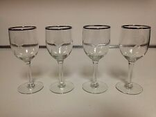 DOROTHY THORPE STYLE CORDIAL GLASSES WITH ETCHED ROSE & SILVER RIM - 4 TOTAL