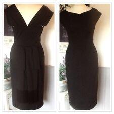 LUISA SPAGNOLI BLACK DRESS BUSTLE FRINGE BACK UK 8