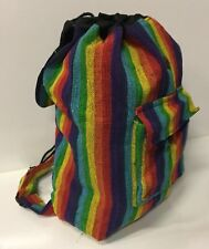 New Rainbow Hippie Boho Festival Cotton Unisex Backpack