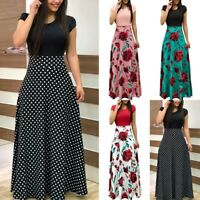 Women's Floral Polka Dot Maxi Dress Summer Holiday Cocktail Evening Dresses UK