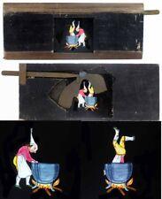 PLAQUE de LANTERNE MAGIQUE c.1850  LE CHAUDRON /  Magic lantern 1228