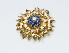 Vintage Tiffany & Co. 18K Yellow Gold Diamond Sapphire Flower Pendant Brooch
