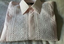 Vintage Mens Pale Pink Dinner Shirt White Lace Bib Double Cuffs 14.5 inch collar