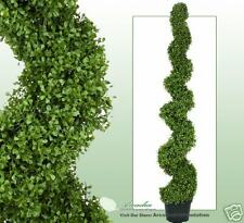"""ONE ARTIFICIAL 6' 3"""" BOXWOOD SPIRAL TOPIARY IN OUTDOOR TREE POT PLANT BUSH PATIO"""