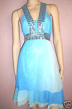 WOMENS SPARKLING SILVER SEQUIN TRIM BLUE TYE DYE CHIFFON PARTY DRESS size 12-14