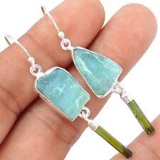 Aquamarine Rough & Green Tourmaline 925 Silver Earrings Jewelry SE109770