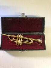 More details for miniature trumpet in wooden box with red velvet lining made for sculptures uk vg
