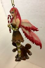 Candy Cane Fairy w Ginger Bread Man Amy Brown Faery Figurine Ornament Collection