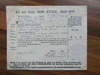 Antique Irish document - War stock - Londonderry - 1923
