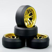 4X 1:10 RC Car Speed Drift 3 Degree Tires Gold Wheel Rim PP0367+ DHG For HPI HSP