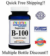 High Potency Vitamin B-100 Complex 200 Caps 6 Month Supply Exp 2020 Gluten Free