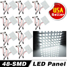 10X White 48SMD Panel LED Festoon T10 BA9S Adapter Interior Dome Map Light Bulb