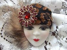 "Blk/Brn Hat Fur Red Rhinestones 2.5"" Lady Face Head Woman Pin *Real*Porcelain"
