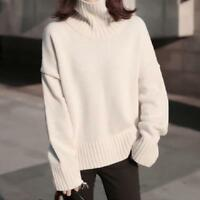Womens Cashmere Thick Long Sleeve Turtleneck Pullovers Loose Sweater Tops Casual