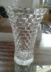 HOMCO Vintage Whitehall Cube Cubist American Pattern Glass Flared Flowers Vase