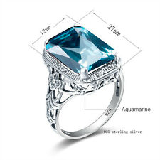 Handmade 925 Sterling Silver Rings with Aquamarine Gemstone Jewelry for Women