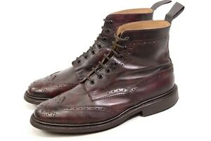TRICKER'S STOW made in England 9.5 /10.5 US /43.5 mens boots burgundy Country