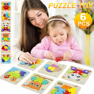 Dreampark Wooden Jigsaw Puzzles, 6 Pack Animal Puzzles for Toddlers Kids 1-3