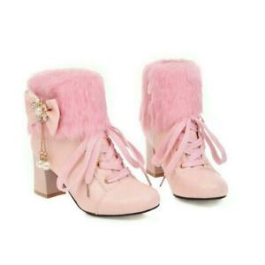 Womens Lolita Sweet Bowknot Warm Fur Ankle boots platform chunky Heel Shoes