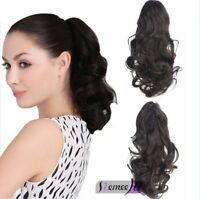 15-24 inch Wavy Claw Clip In Human Hair Ponytail Clip On Human Hair Extensions