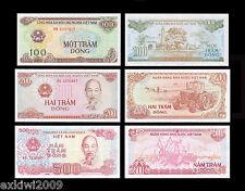 Vietnam 100 + 200 + 500 Dong Set of 3 Mint UNC Uncirculated Banknotes 3 PCS